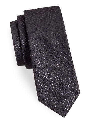 Calvin Klein Logo Silk Tie-PURPLE-One Size