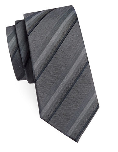 Kenneth Cole Reaction Diagonal Striped Silk-Blend Tie-CHARCOAL-One Size