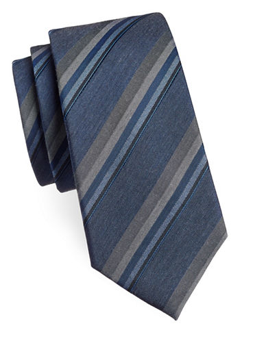 Kenneth Cole Reaction Diagonal Striped Silk-Blend Tie-NAVY-One Size