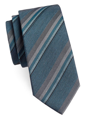 Kenneth Cole Reaction Diagonal Striped Silk-Blend Tie-TEAL-One Size