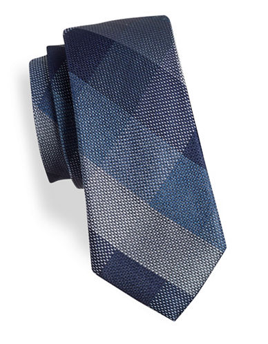 Kenneth Cole Reaction Argyle Silk-Blend Tie-BLUE-One Size