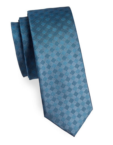 Kenneth Cole Reaction Slim Checked Silk Tie-BLUE-One Size