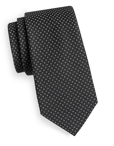 Michael Michael Kors Dot-Print Wool and Silk Tie-BLACK-One Size