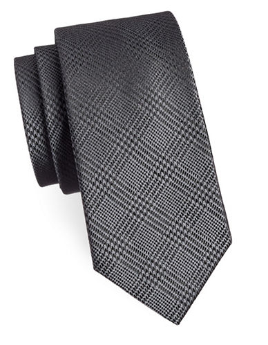 Michael Michael Kors Plaid Silk Tie-BLACK-One Size