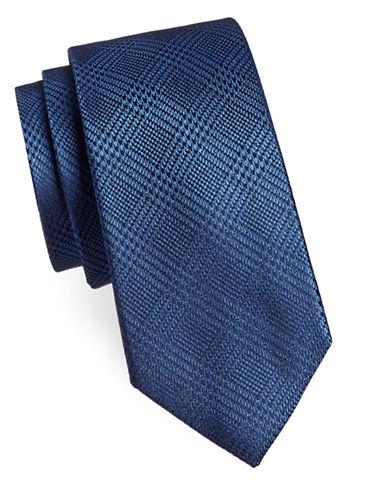 Michael Michael Kors Plaid Silk Tie-BLUE-One Size
