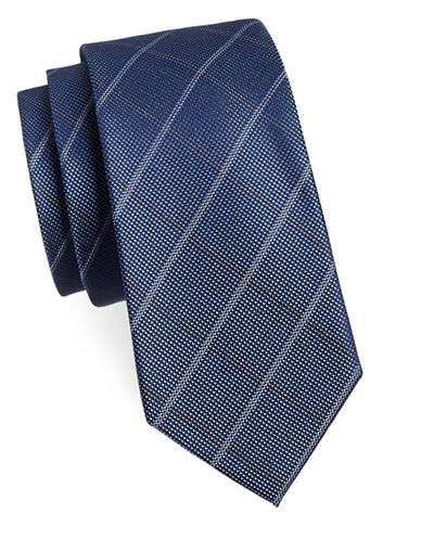 Michael Michael Kors Checkered Silk-Blend Tie-NAVY-One Size