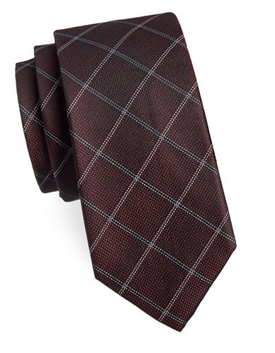 Michael Michael Kors Checkered Silk-Blend Tie-RED-One Size