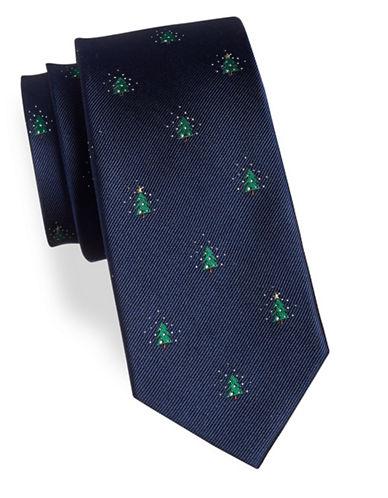 Tommy Hilfiger Tree Print Silk Tie-BLUE-One Size