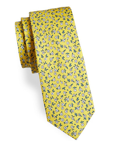 Tommy Hilfiger Floral Print Silk Tie-YELLOW-One Size
