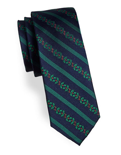 Tommy Hilfiger Holly Print Silk Tie-GREEN-One Size