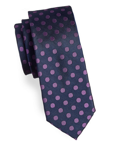 Tommy Hilfiger Spotted Silk Tie-PURPLE-One Size