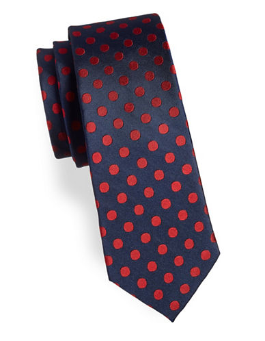 Tommy Hilfiger Spotted Silk Tie-RED-One Size