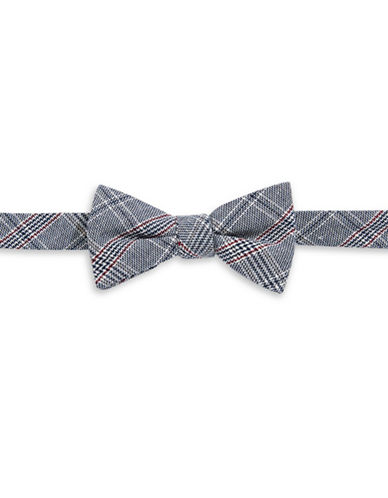Bow Tie Tuesdays Pre-Tied Woven Plaid Bow Tie-NAVY-One Size