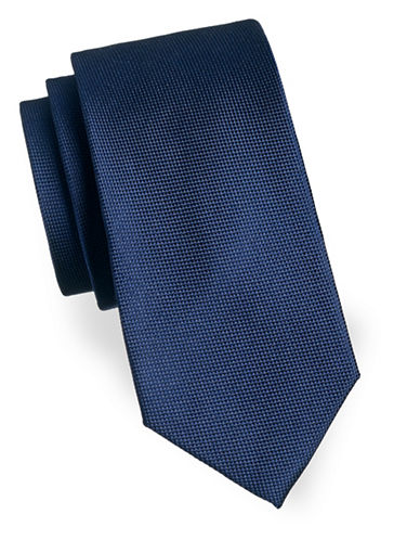 Izod Solid Textured Silk Tie-NAVY-One Size