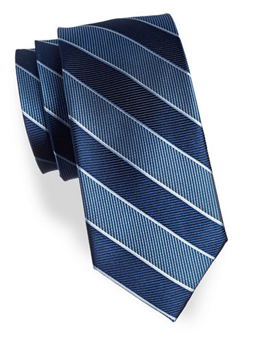 Izod Striped Silk Tie-BLUE-One Size