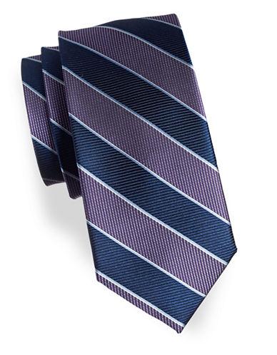 Izod Striped Silk Tie-PURPLE-One Size