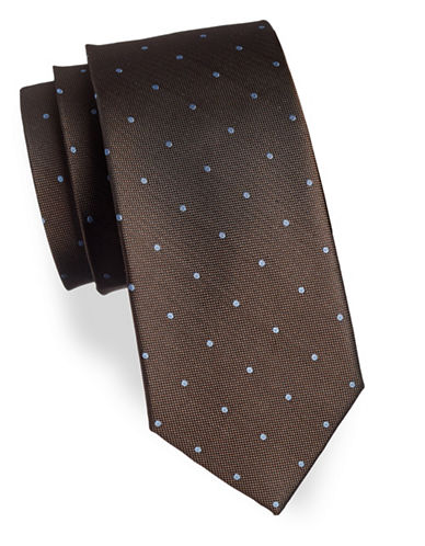 Izod Polka Dot Silk Tie-BROWN-One Size