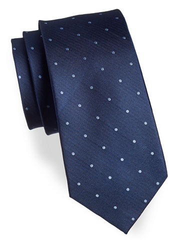 Izod Polka Dot Silk Tie-BLUE-One Size