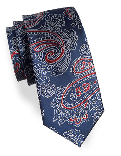 Izod Paisley Print Silk Tie-BLUE-One Size