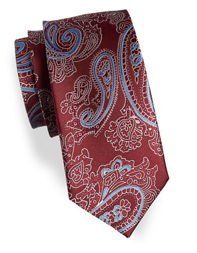 Izod Paisley Print Silk Tie-RED-One Size