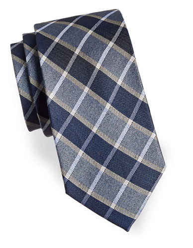 Izod Plaid Patterned Silk Tie-BLUE-One Size