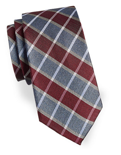 Izod Plaid Patterned Silk Tie-BURGUNDY-One Size