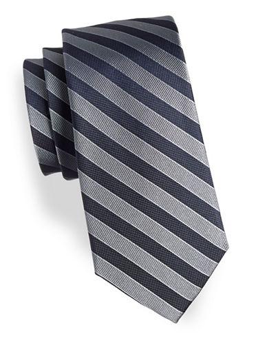 Arrow Striped Silk Tie-GREY-One Size