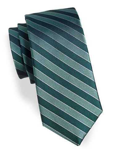 Arrow Striped Silk Tie-GREEN-One Size