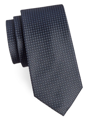 Arrow Micro Dotted Silk Tie-GREY-One Size