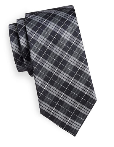 Arrow Plaid Silk Tie-NAVY-One Size