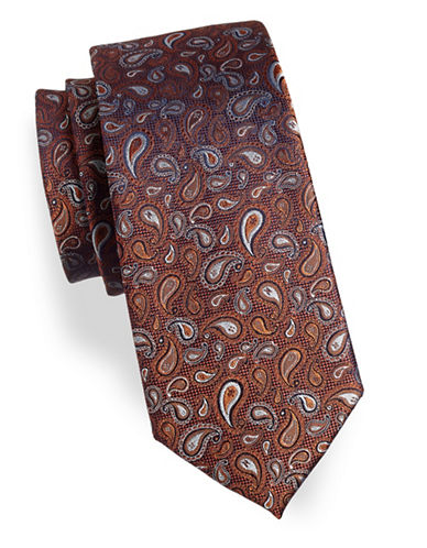 Arrow Paisley Print Silk Tie-RED-One Size