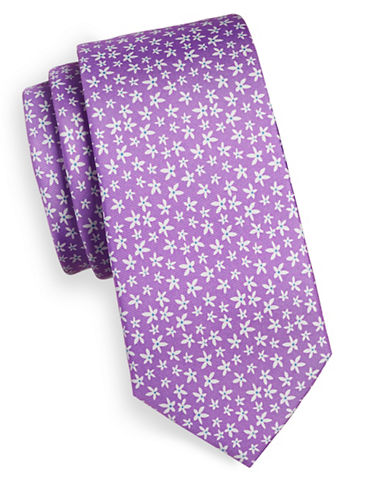 Tommy Hilfiger Floral-Printed Silk Tie-PURPLE-One Size