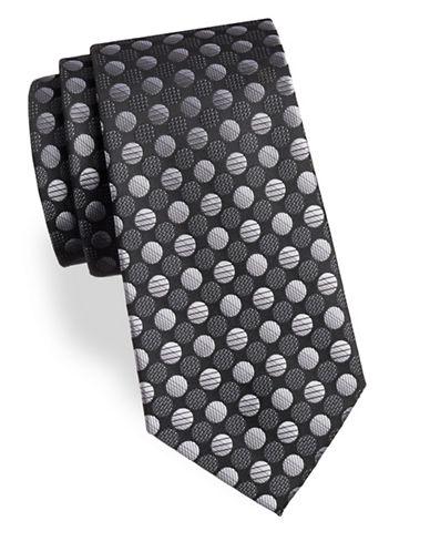Arrow Dot Silk Tie-GREY-One Size