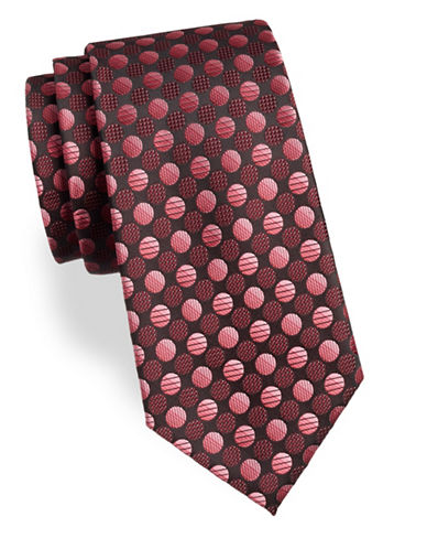 Arrow Dot Silk Tie-ORANGE-One Size