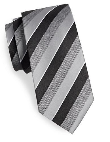 Geoffrey Beene Striped Silk-Blend Tie-BLACK-One Size