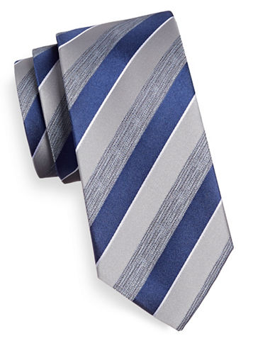 Geoffrey Beene Striped Silk-Blend Tie-NAVY-One Size