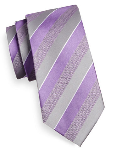 Geoffrey Beene Striped Silk-Blend Tie-PURPLE-One Size