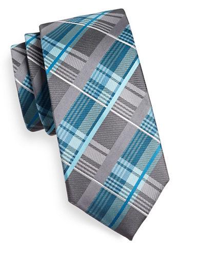 Geoffrey Beene Plaid Silk-Blend Tie-AQUA-One Size