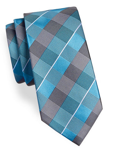 Geoffrey Beene Mixed Check Silk Blend Tie-AQUA-One Size