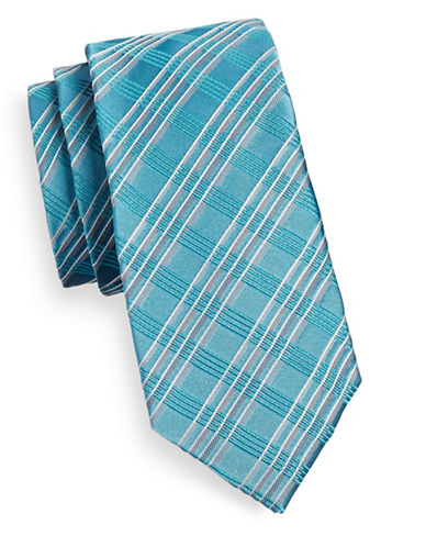 Geoffrey Beene Angular Plaid Silk Blend Tie-AQUA-One Size