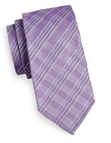 Geoffrey Beene Angular Plaid Silk Blend Tie-LILAC-One Size