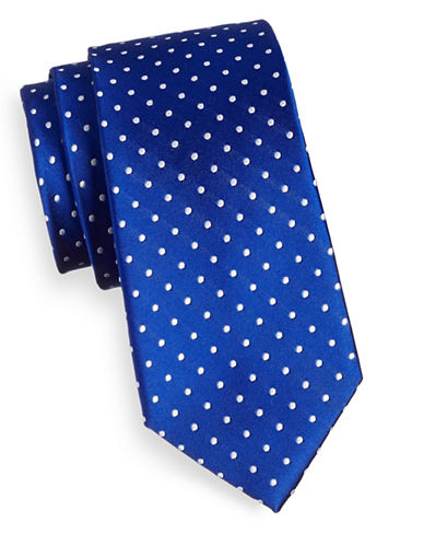 Tommy Hilfiger Dotted Silk Scarf-BLUE-One Size