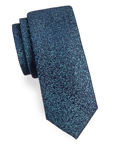 Calvin Klein Pixelated Silk Tie-TEAL-One Size