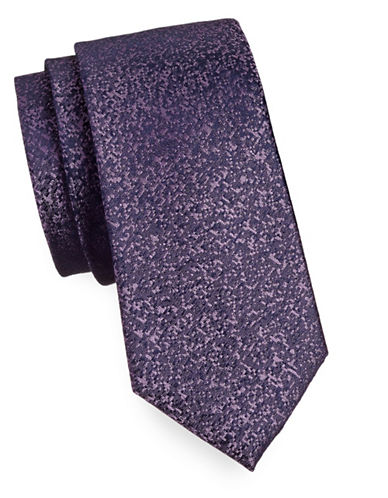 Calvin Klein Pixelated Silk Tie-PURPLE-One Size