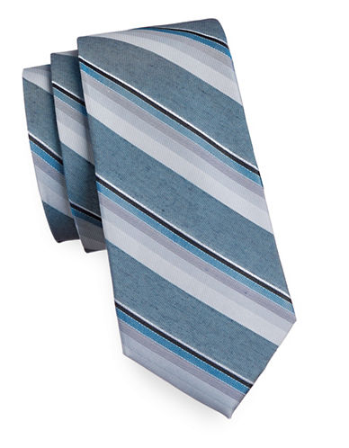 Calvin Klein Tonal Stripe Silk Blend Tie-TEAL-One Size
