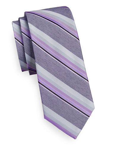 Calvin Klein Tonal Stripe Silk Blend Tie-PURPLE-One Size