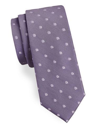Calvin Klein Two Print Silk Tie-PURPLE-One Size