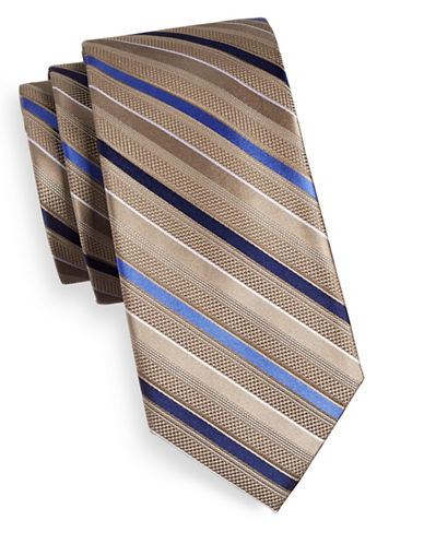 Michael Michael Kors Striped Silk Tie-TAUPE-One Size