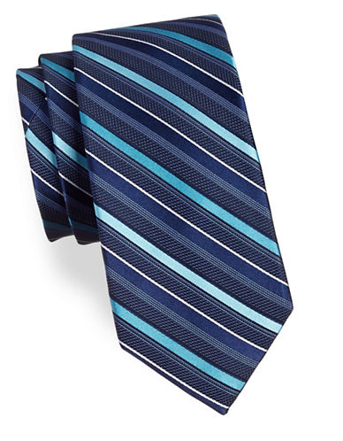 Michael Michael Kors Striped Silk Tie-NAVY-One Size