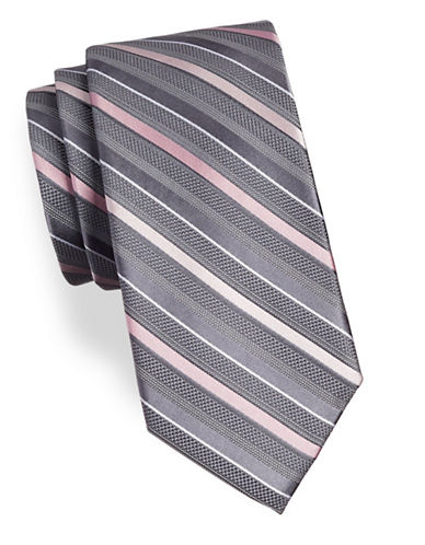 Michael Michael Kors Striped Silk Tie-PINK-One Size